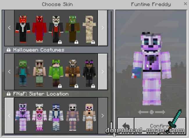 Текстуры Five Nights At Freddy's: Sister Location Skin Pack 1.2.8+